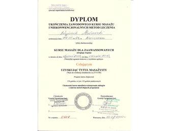 certyfikat dyplom kursu masazu dla zaawansowanych