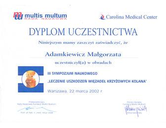 certyfikat malgorzata adamkiewicz Carolina 03.2002