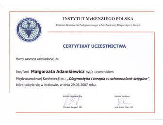 certyfikat malgorzata adamkiewicz Karim Khan 2007