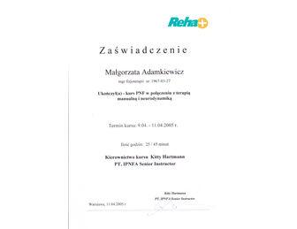 certyfikat malgorzata adamkiewicz PNF NEURO 2003