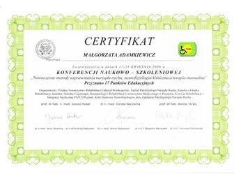 certyfikat malgorzata adamkiewicz PTReh 2008