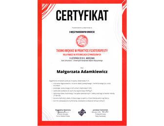 certyfikat malgorzata adamkiewicz Tkanki Kongres 11. 2016