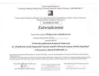 certyfikat malgorzata adamkiewicz ZAŚWIADCZENIE 2007